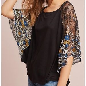 Anthropologie lace sleeve top